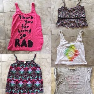 Set of 5 Surf/Skate Brand Graphic Tops PacSun